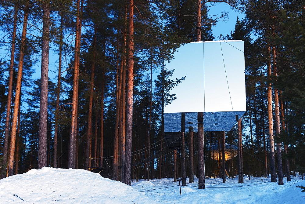 The Mirror Cube room, The Tree Hotel, Lapland, Arctic Circle, Sweden, Scandinavia, Europe