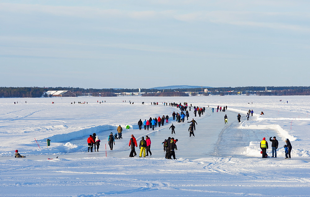 Frozen lake, Lulea, Lapland, Arctic Circle, Sweden, Scandinavia, Europe