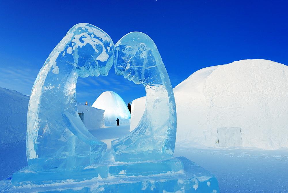 Ice sculpture, Ice Hotel, Kiruna, Lapland, Arctic Circle, Sweden, Scandinavia, Europe - 733-6695