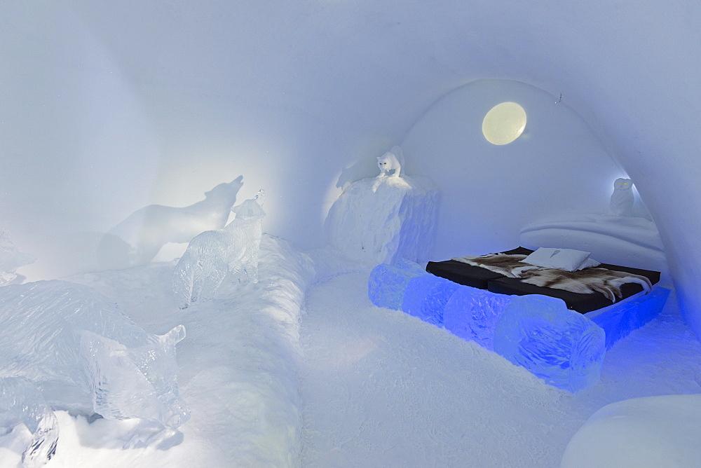Cold room, Ice Hotel, Kiruna, Lapland, Arctic, Sweden, Scandinavia, Europe