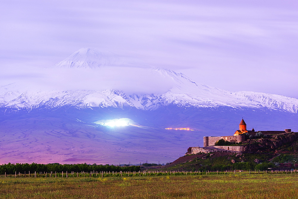 Khor Virap Monastery, and Mount Ararat, 5137m, highest mountain in Turkey photographed in Armenia, Caucasus, Central Asia, Asia
