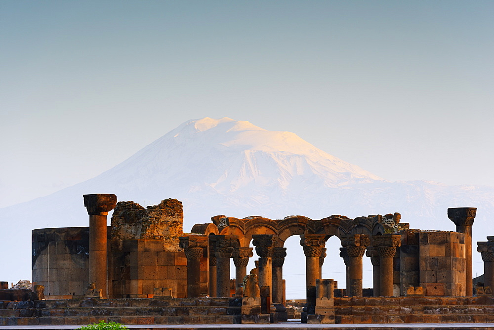 Zvartnots archaeological ruin, UNESCO World Heritage Site, Mount Ararat in Turkey behind, Armenia, Caucasus, Central Asia, Asia