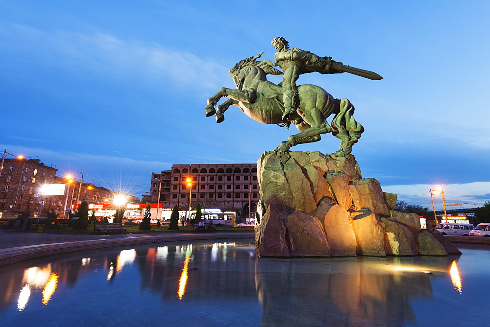 Statue of Sasuntsi David by Yervand Qochar, Train Station Square, Yerevan, Armenia, Caucasus region, Central Asia, Asia
