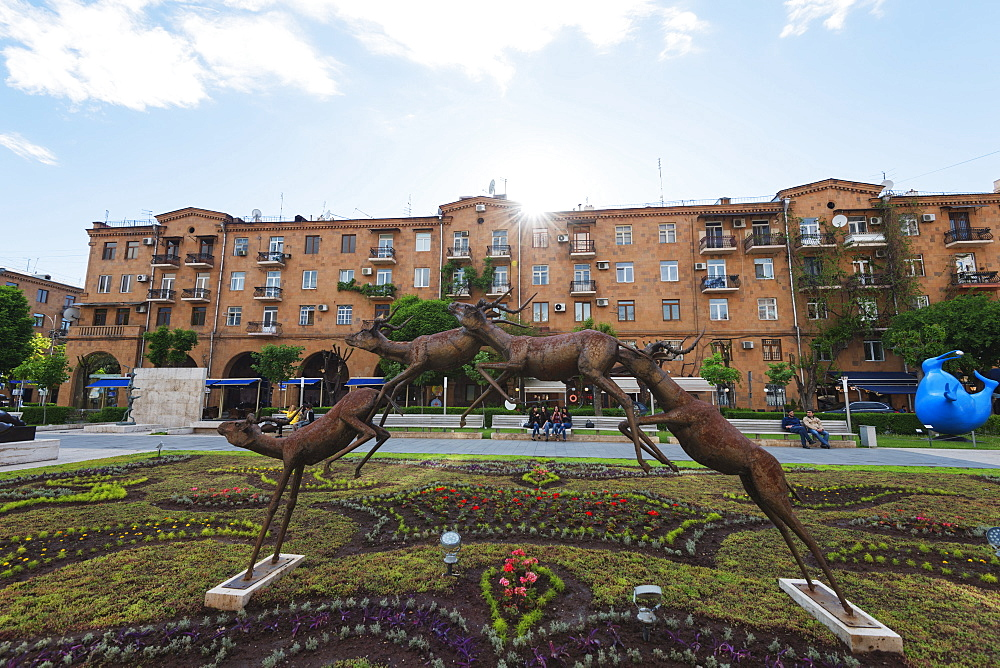 Running antelope, Art exhibitions at the Cascade, Yerevan, Armenia, Caucasus region, Central Asia, Asia