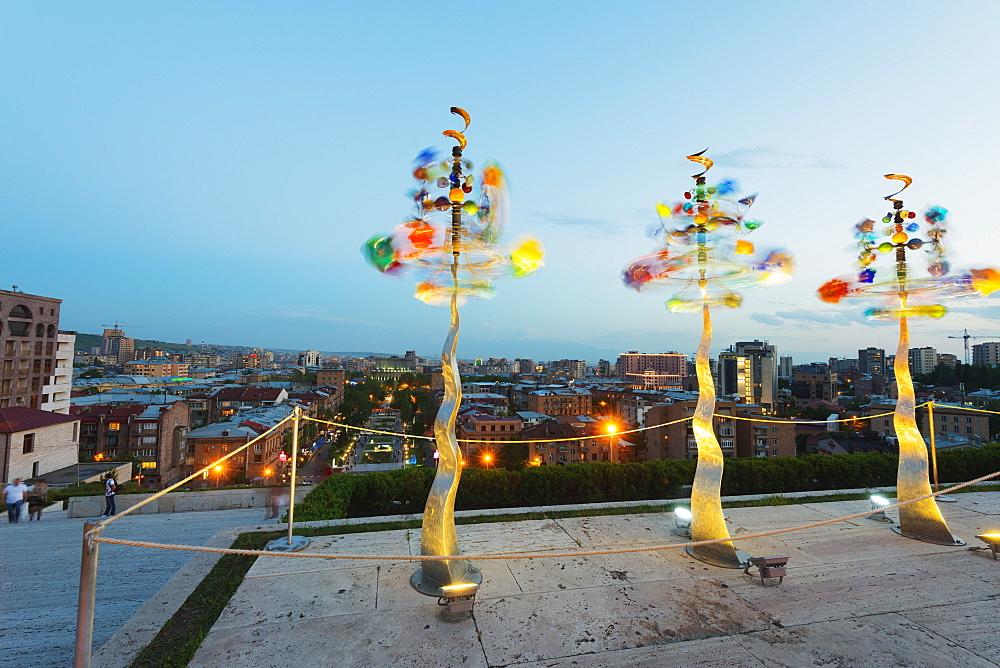 Wind chimes, Art exhibitions at the Cascade, Yerevan, Armenia, Caucasus region, Central Asia, Asia