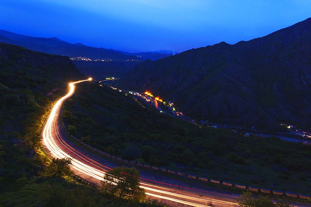 Car lights on mountain road, Lori Province, Armenia, Caucasus, Central Asia, Asia