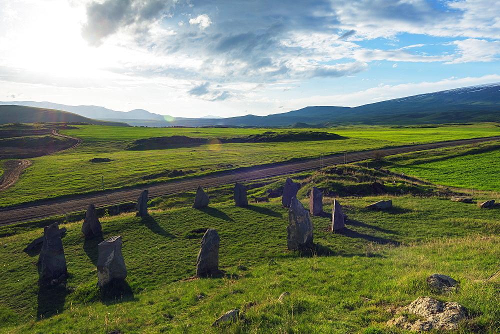Karahunj Zorats Karer, prehistoric archaeological stonehenge site, Syunik Province, Armenia, Caucasus, Central Asia, Asia