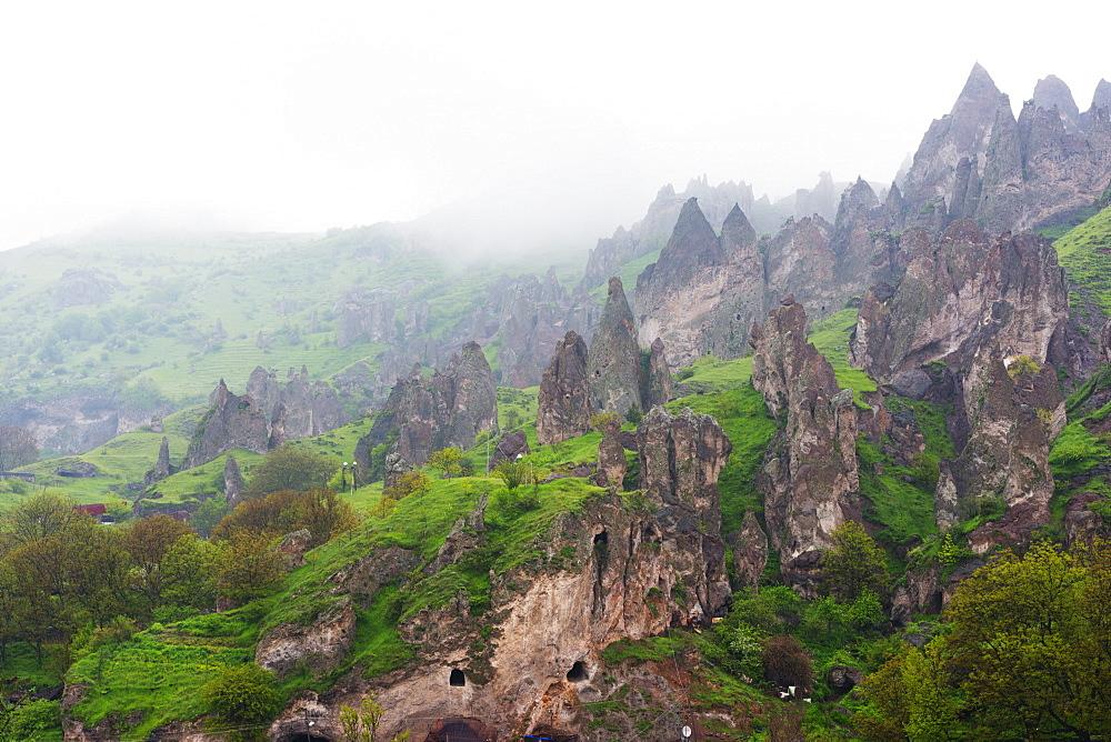 Sandstone rock formations, Syunik province, Armenia, Caucasus, Central Asia, Asia