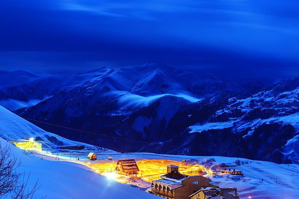 Gudauri ski resort in Asia at night image
