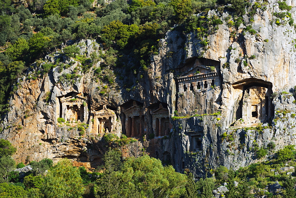 Lycian rock tombs dating from the fourth to second centuries BC, Kaunos, Dalyan, Mugla Province, Anatolia, Turkey, Asia Minor, Eurasia
