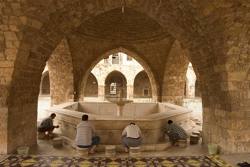 Worshippers at Grand Mosque, Tripoli, Lebanon, Middle East