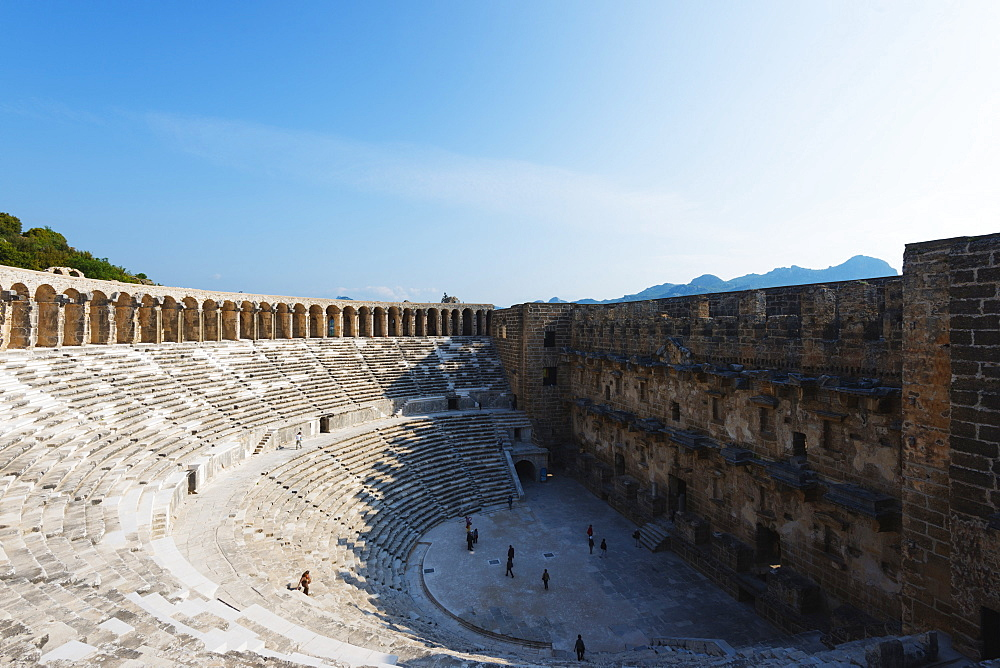 The second century Roman theatre, built by Emperor Marcus Aurelius, Aspendos, Pamphylia, Anatolia, Turkey, Asia, Eurasia