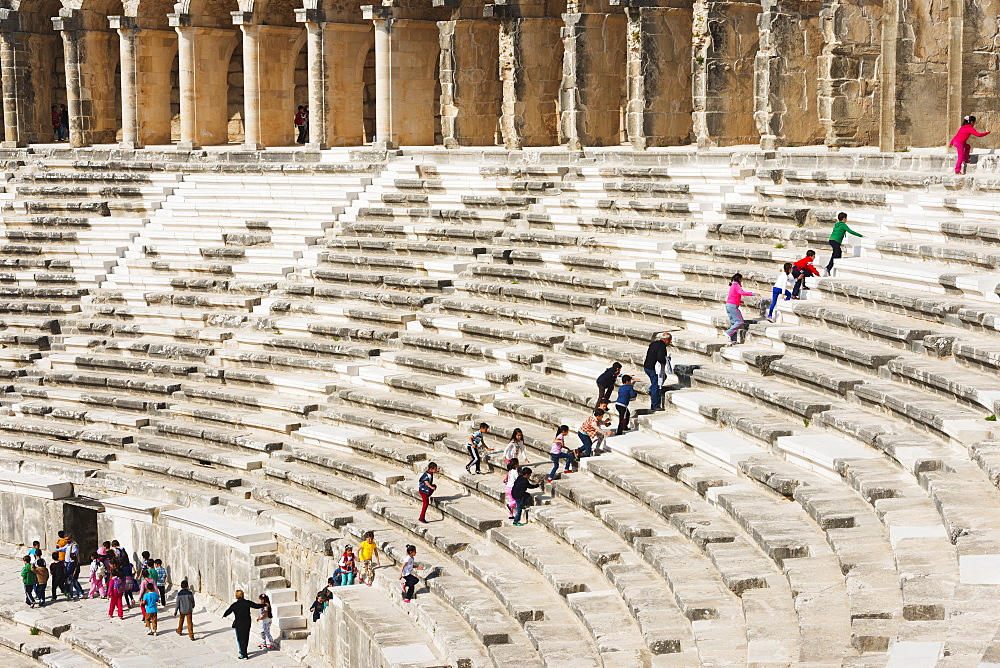 The second century Roman theatre, built by Emperor Marcus Aurelius, Aspendos, Pamphylia, Anatolia, Turkey, Asia, Eurasia