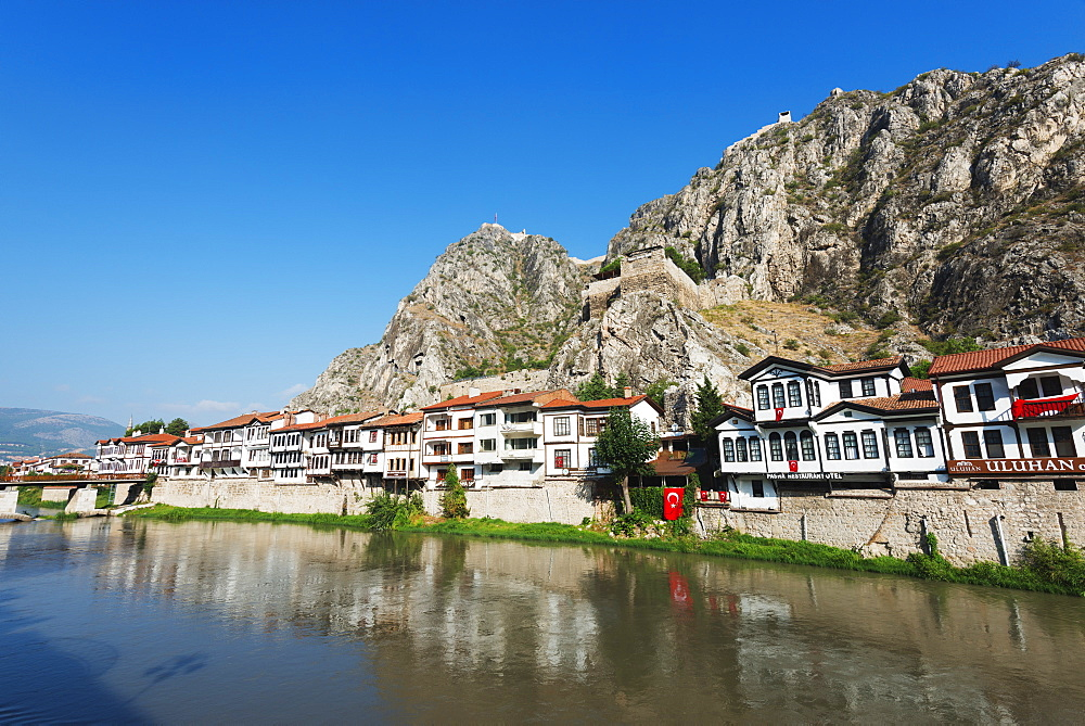 Hatuniye Mahallesi historic neighbourhood below Harsena Castle, Amasya, Central Anatolia, Turkey, Asia Minor, Eurasia