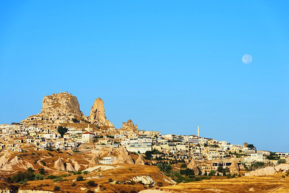 Rock-cut topography at Uchisar, UNESCO World Heritage Site, Cappadocia, Anatolia, Turkey, Asia Minor, Eurasia