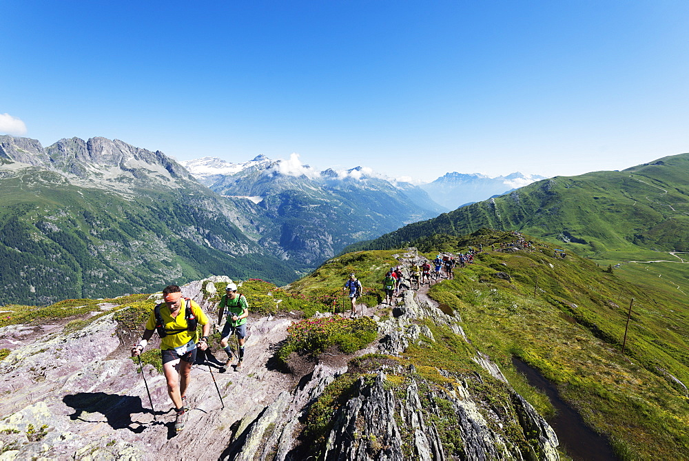 Chamonix trail running marathon, Chamonix, Rhone Alps, Haute Savoie, French Alps, France, Europe