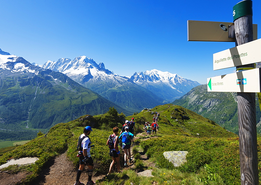 Chamonix trail running marathon, Mont Blanc 4810m, Chamonix, Rhone Alps, Haute Savoie, French Alps, France, Europe