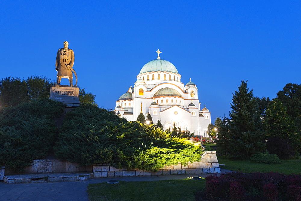 St. Sava Orthodox Church, built 1935 and Karadjordje (Serbian political leader) statue, Belgrade, Serbia, Europe