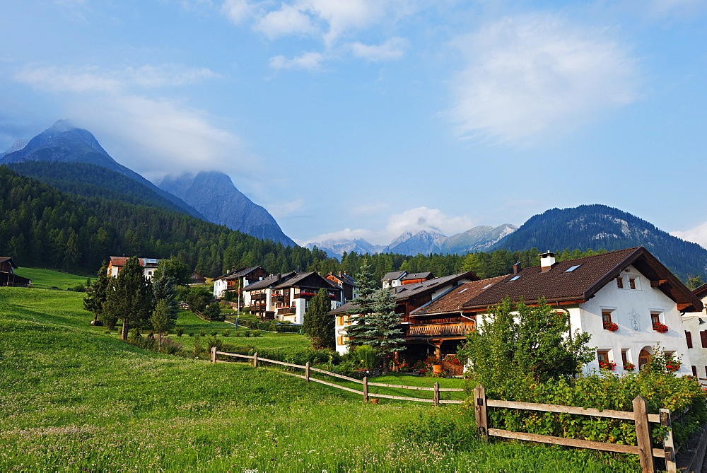 Alpine village, Scuol Tarasp, Engadine, Graubunden, Switzerland, Europe