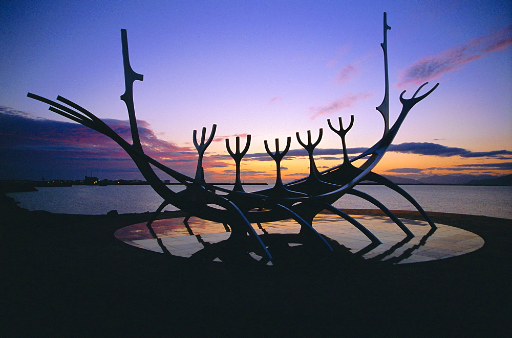 Seaside monument at sunset, Reykjavik, Iceland - 733-71