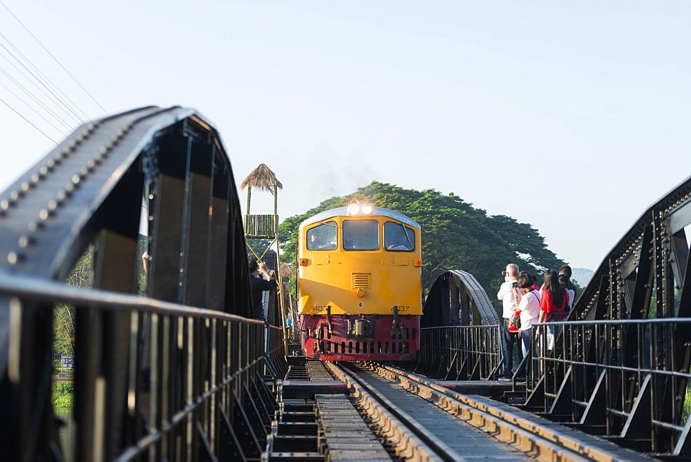 Train crossing the Bridge over the River Kwai, Kanchanaburi, Thailand, Southeast Asia, Asia