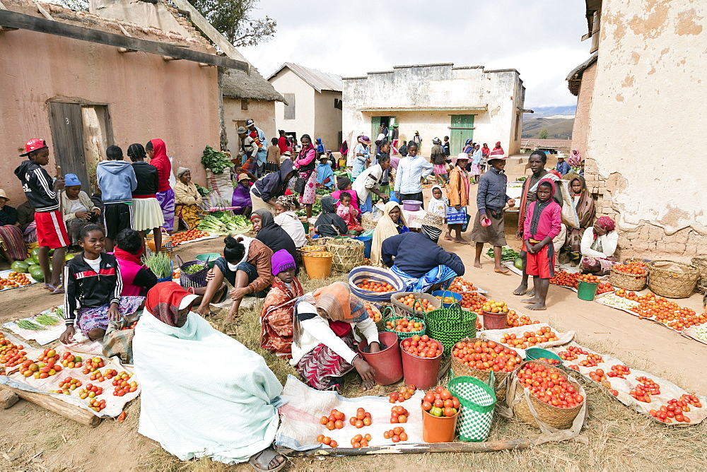 Vegetable sellers, Sendrisoa weekly market, near Ambalavao, central area, Madagascar, Africa