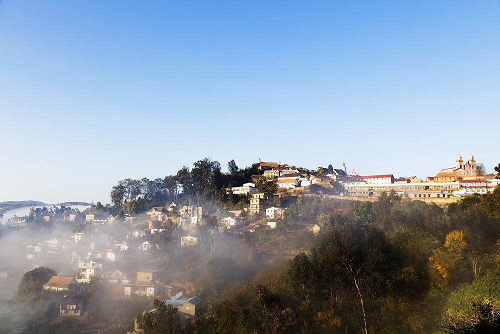 Fianarantsoa, early morning mist on the Haute Ville old town, central area, Madagascar, Africa