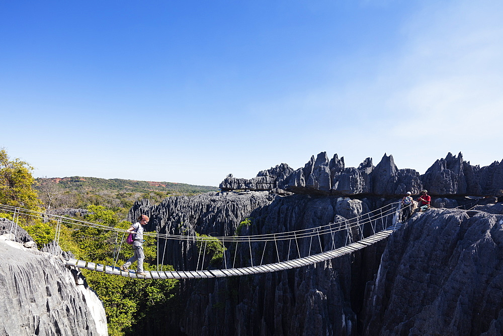 Tourist crossing a rope bridge, Grand Tsingy, Tsingy du Bemaraha National Park, UNESCO World Heritage Site, western area, Madagascar, Africa