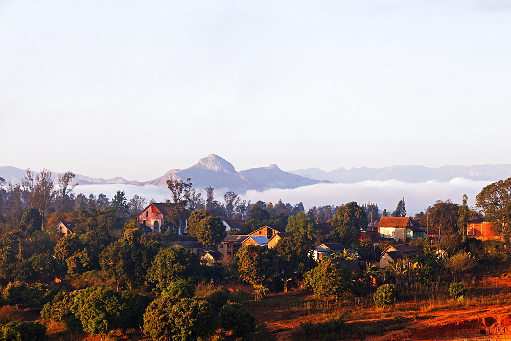 Ambalavao town and mountain scenery, central area, Madagascar, Africa