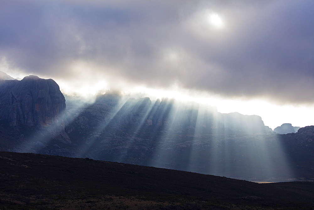 Sunrays breaking through cloud, Andringitra National Park, Ambalavao, central area, Madagascar, Africa
