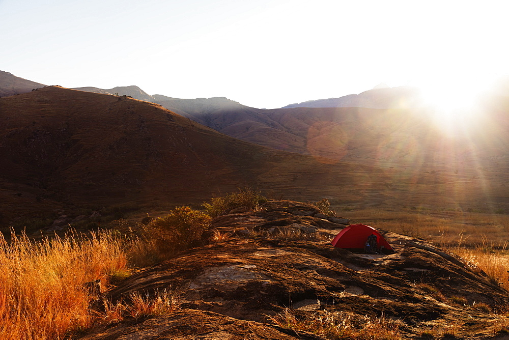Sunrise on a tent, Tsaranoro Valley, Ambalavao, central area, Madagascar,  Africa