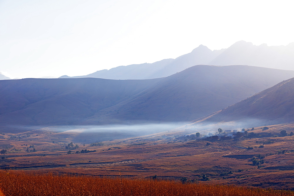 Early morning mist, Tsaranoro Valley, Ambalavao, central area, Madagascar, Africa