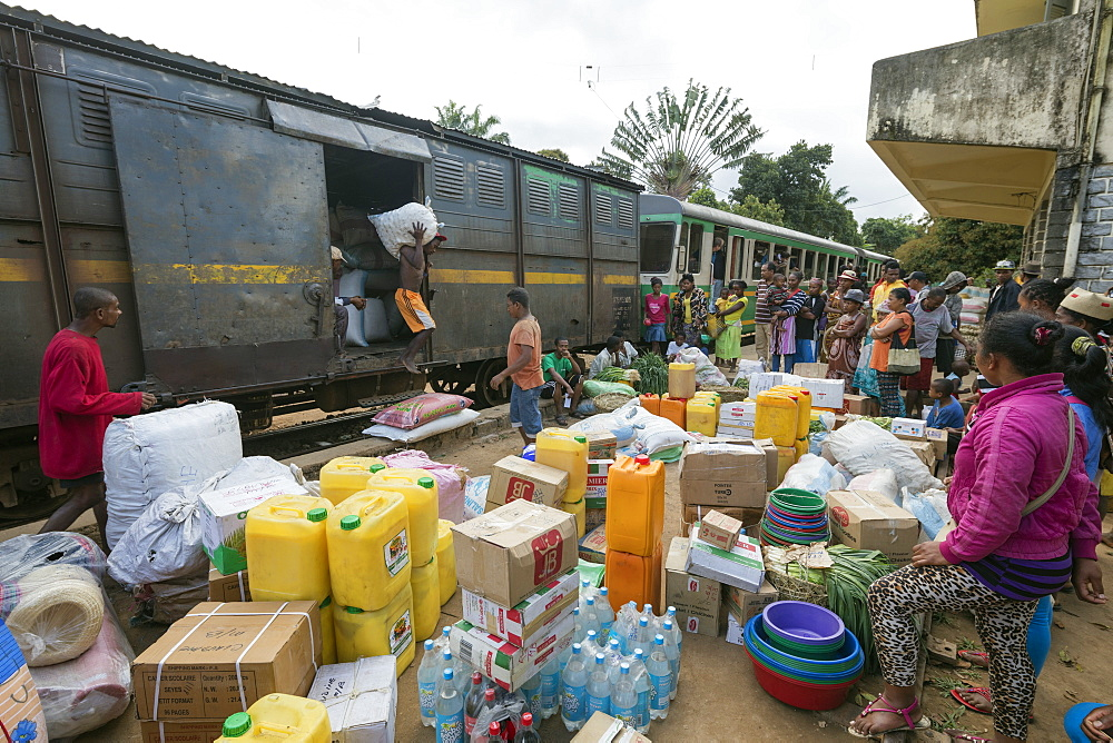 Fianarantsoa to Manakara FCE train, cargo being unloaded, eastern area, Madagascar, Africa