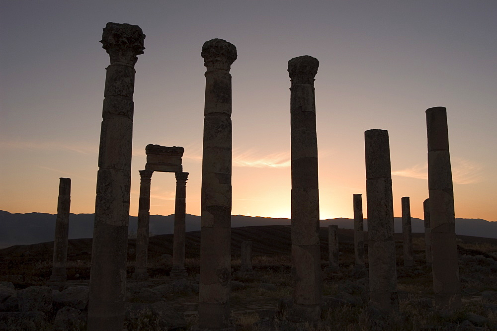 Archaelogical site at sunset, Apamea (Qalat at al-Mudiq), Syria, Middle East