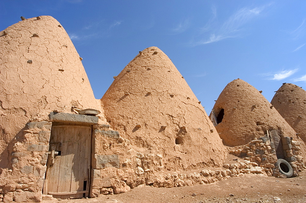 Beehive houses built of brick and mud, Srouj village, Syria, Middle East