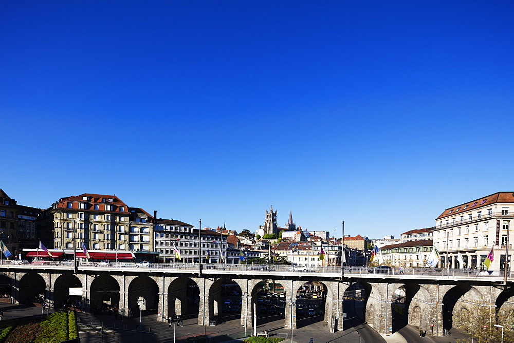 City centre viaduct, Lausanne, Vaud, Switzerland, Europe