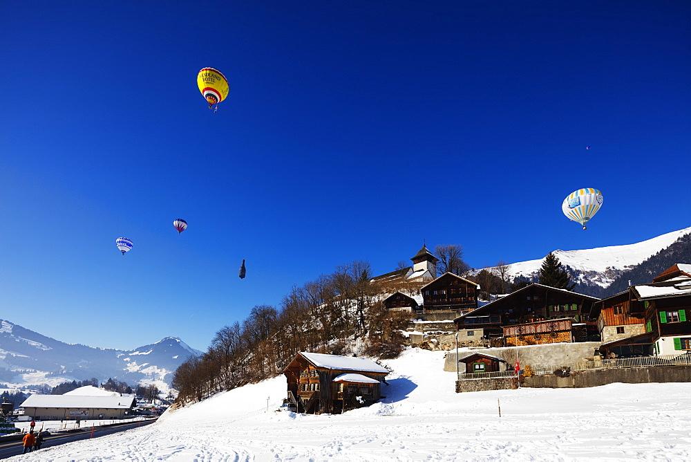 Europe, The Alps, Switzerland, Vaud, Château-d'Oex, International hot air balloon festival,