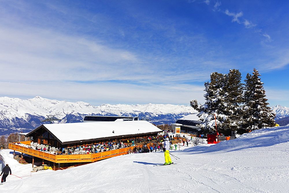 Europe, The Alps, Switzerland, Valais, 4 Vallees, Veysonnaz (Verbier), mountain restaurant at Mont Rouge