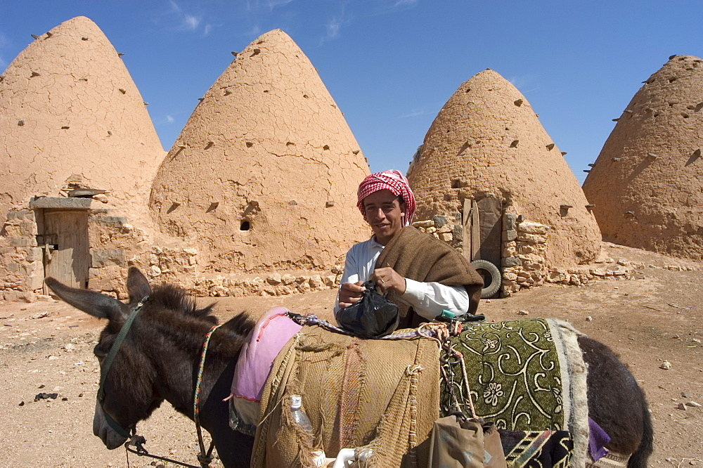 Man on donkey in front of beehive houses built of brick and mud, Srouj village, Syria, Middle East