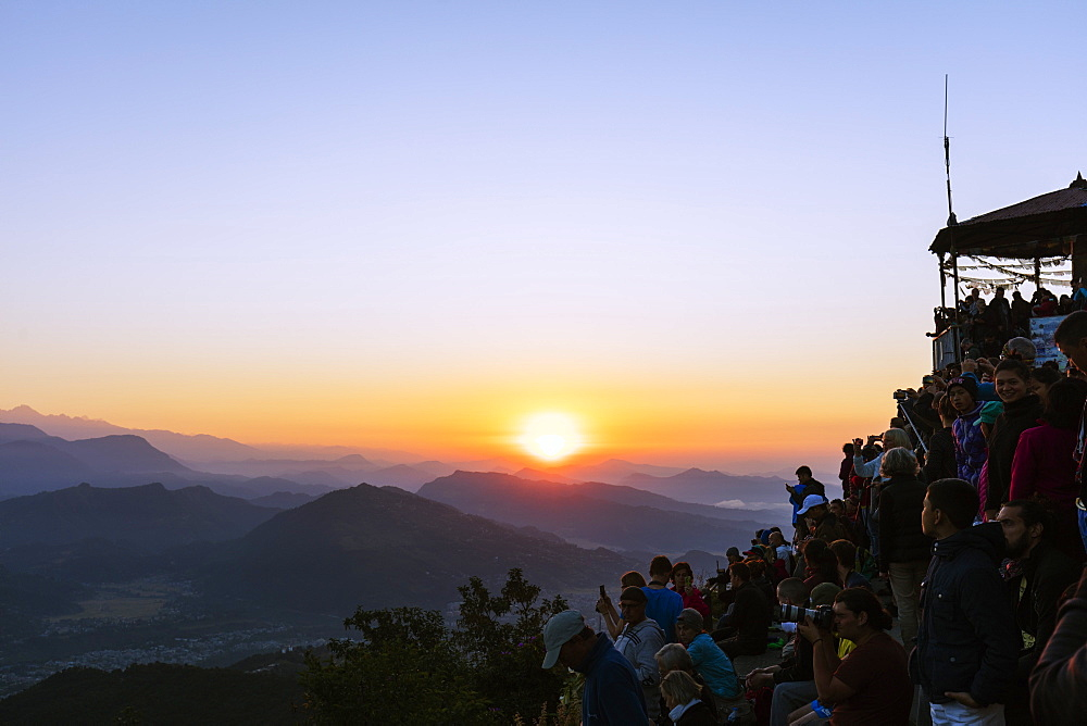 Tourists watching sunrise from Sarangkot, Pokhara, Nepal, Asia