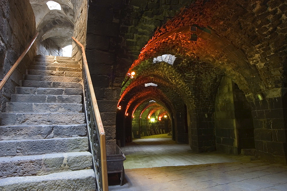 Arched passage way inside the The Citadel Roman Theatre, Bosra, UNESCO World Heritage Site, Syria, Middle East