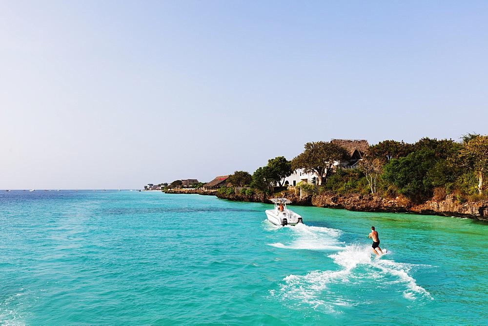 East Africa, Tanzania, Zanzibar island, Nungwi, water skier