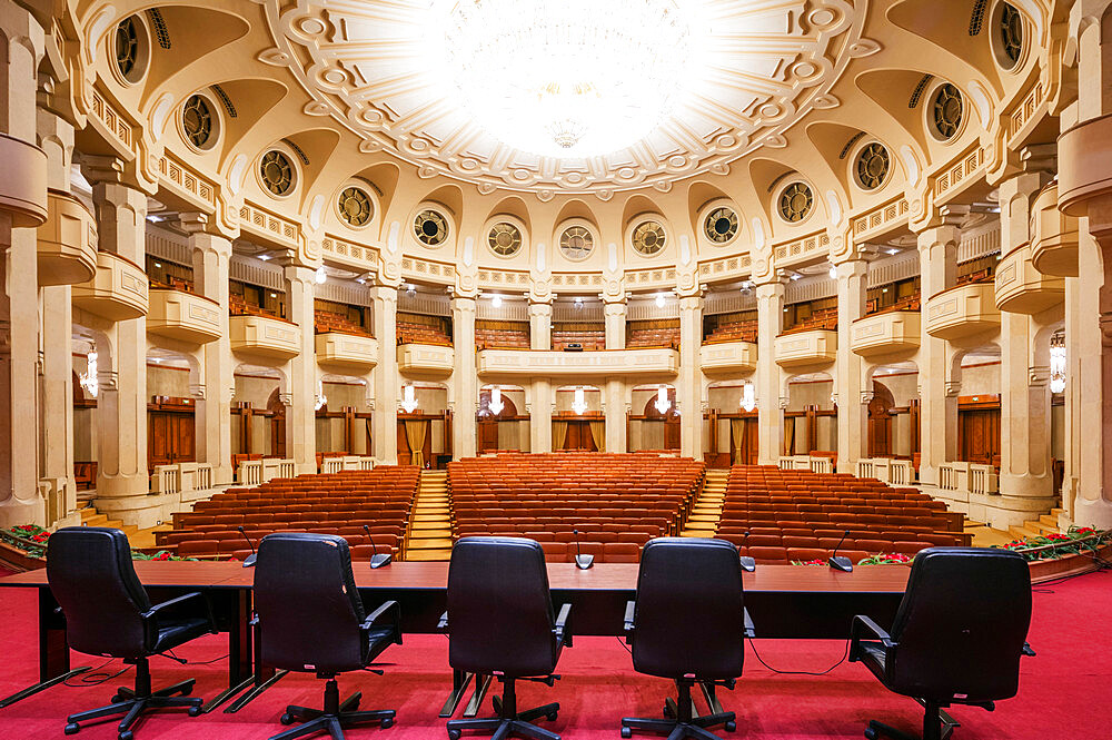 Eastern Europe, Romania, Bucharest, Palace of the Parliament, second biggest building in the world, theatre room