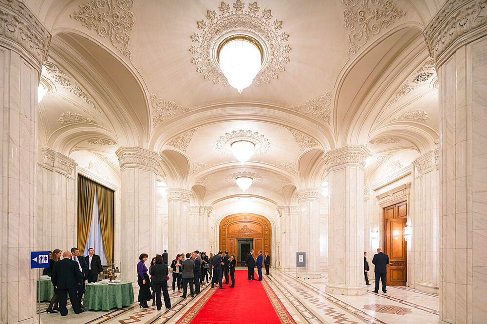 Eastern Europe, Romania, Bucharest, Palace of the Parliament, second biggest building in the world, reception room