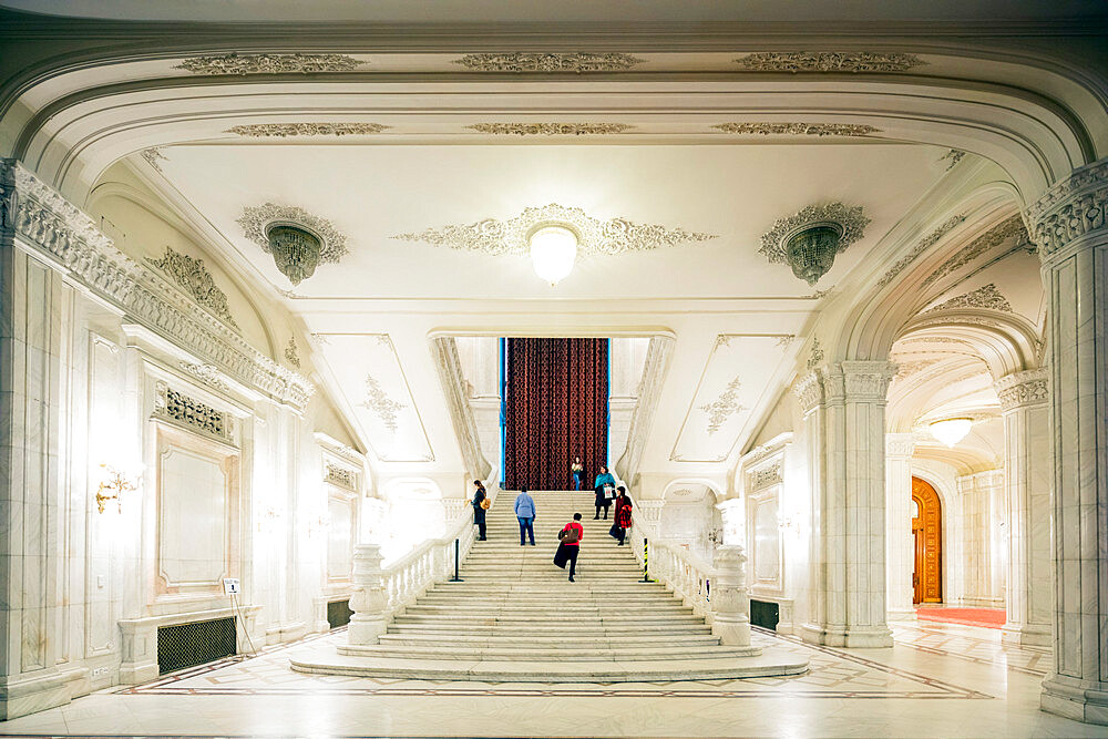 Eastern Europe, Romania, Bucharest, Palace of the Parliament, second biggest building in the world, marble staircase