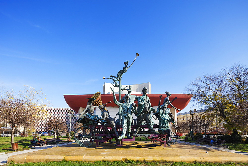 University Square, National Theatre, statue of musicial comedians by Ioan Bolborea, Bucharest, Romania, Europe