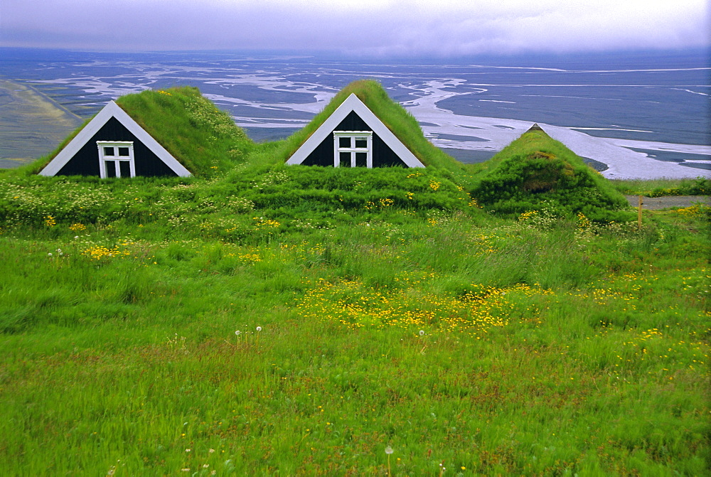 Turf roof houses in the south of the island, Skaftafell National Park, Iceland