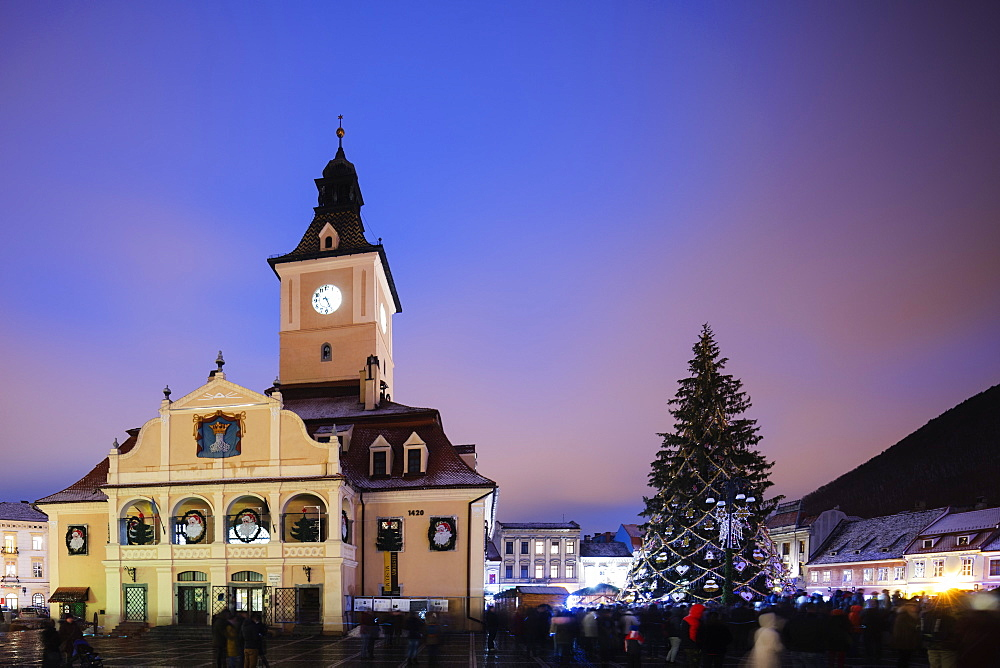 History Museum building and Christmas market, Brasov, Romania, Europe