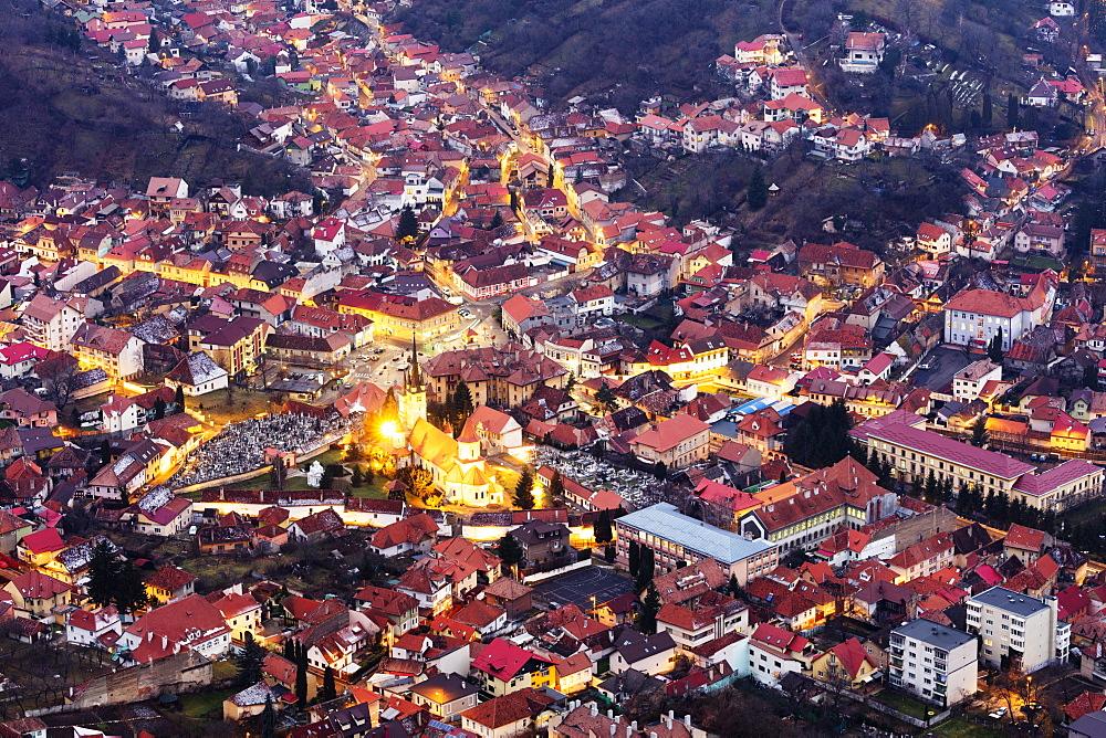 Hilltop view of Brasov, Romania, Europe