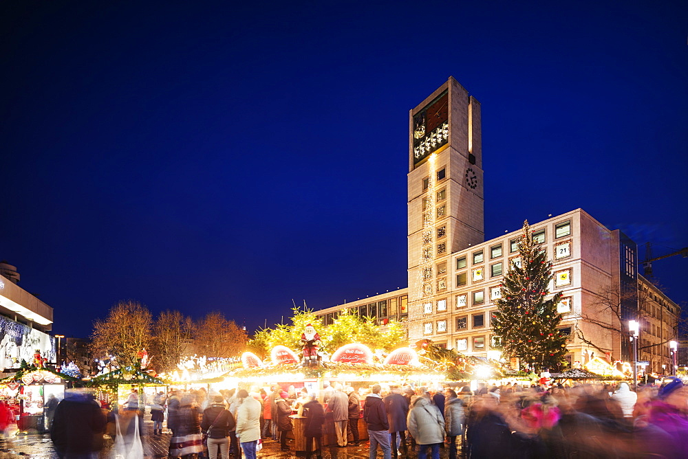 Christmas market at Town Hall square, Stuttgart, Baden-Wurttemberg, Germany, Europe